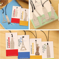 Metal Bookmark Travel Theme Note Memo Paper Marker Stationery Novelty Creative Gift