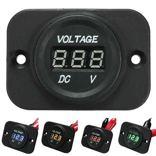 12V-24V Waterproof LED Volt Meter Voltage Gauge For Motorcycle Car Boat Marine