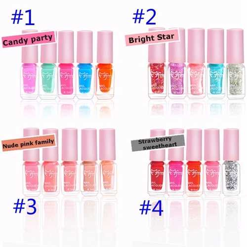5Pcs Nail Polish Lacquer Set Multi-color Gradient Summer Color Varnish