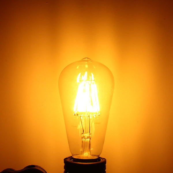 E27 ST58 8W Warm White COB LED Filament Retro Edison LED Bulbs AC110V / AC220V