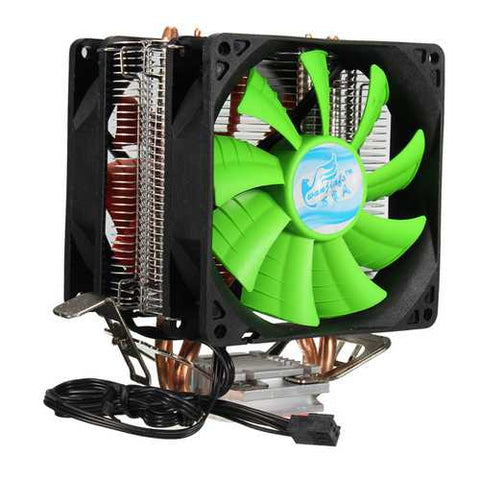 3 Pin Dual Fan CPU Cooler Heat Sink For Intel LGA775/1150/1155 AMD AM2/AM2+/AM3