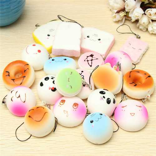 20PCS Random Medium Mini Squishy Soft Panda Bread Cake Buns Phone Straps