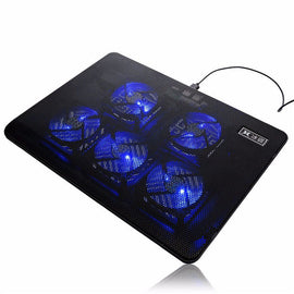 5 Fans LED USB Port Cooling Stand Pad Cooler for 17 inch Laptop Notebook