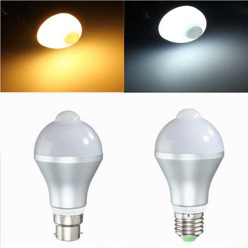 E27 B22 5W Auto PIR Motion Sensor LED Infrared Energy Saving Light Bulb 85-265V