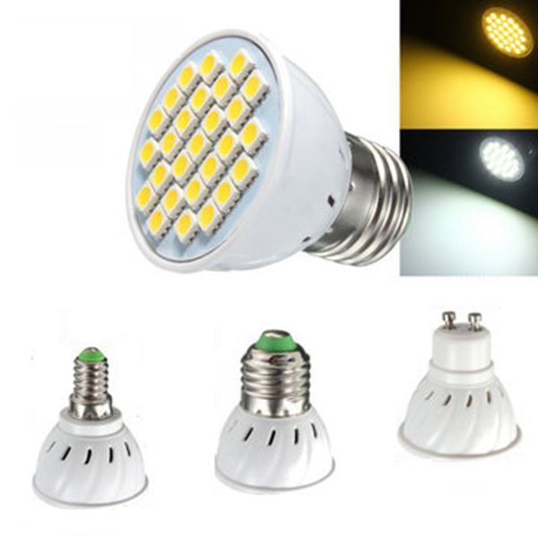 E14 E27 GU10 MR16 4W LED Bulbs SMD 5050 Pure White Warm White Spot Lightt Bulbs 320LM AC110 AC220V