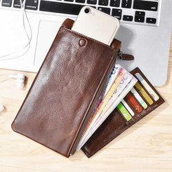 CaseMe Simple Vertical Zipper Multifunctional Card Slots Wallet Bag For 5.5 Inch Smartphone