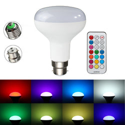 E27/B22 RGBW 10W LED Light Bulbs Colorful Globe Lamp + Remote Control AC85-265V