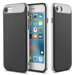 Rock Carbon Fiber Texture Hybrid TPU PC Case For iPhone 7