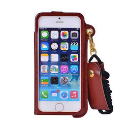 Card Slot Lanyard PU Leather Case For iPhone 5 5S SE 4 Inch