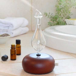 Wood & Glass Pure Essential Oils Diffuser Aromatherapy Machine Air Nebulizer Adjustable