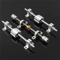 15pcs 200mm Optical Axis Guide Bearing Housings Aluminum Rail Shaft Support Screws Set CNC Parts