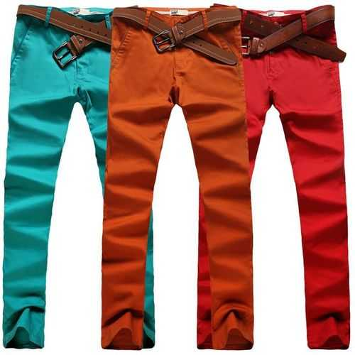 Mens Fashion Elastic Tight Pants Casual Straight Leg Slim Fit Cotton Pants 10 Colors