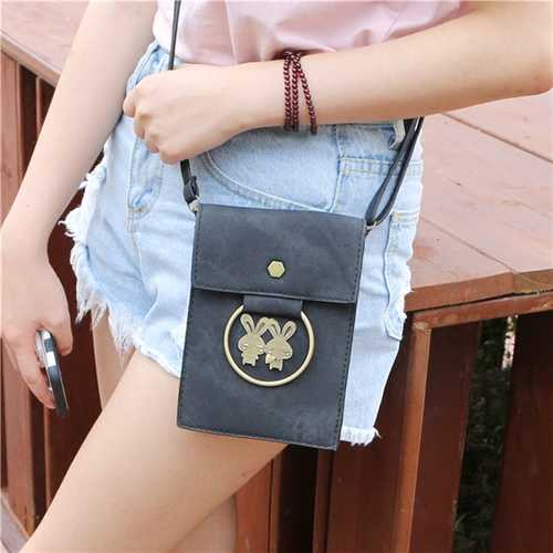 Universal Multi-layer Denim Copper Ring Rabbit Messenger Bag Phone Wallet for Phone Under 5.7-inch
