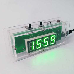 DIY C51 Microcontroller Electronic LED Light Control Temperature Digital Clock Kit With Case
