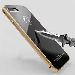 Luphie Metal Bumper+9H Tempered Glass Shell Case For iPhone 7/7 Plus & 8/8 Plus