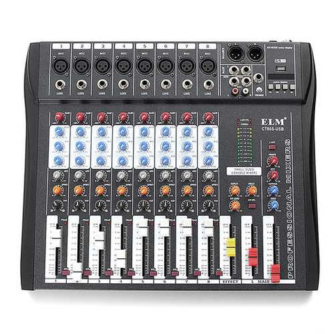 EL M CT80S 8 Channel Live Studio 48V Phantom Audio Mixer Mixing Console for DJ KTV Karaoke