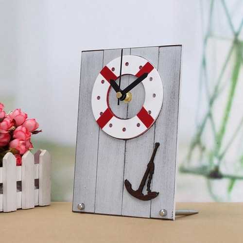 European Mediterranean Style Clock Table Desktop Clock Wood For Gift Room Decor