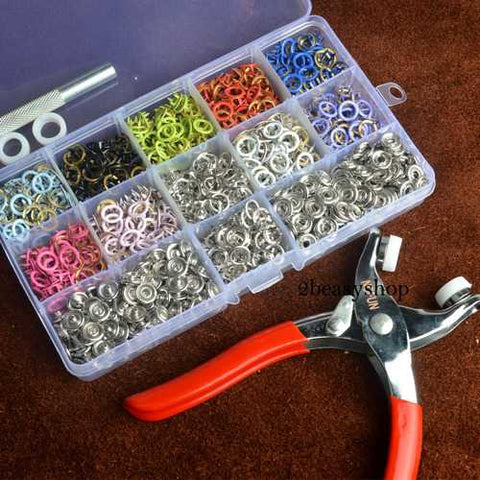 150 Sets 9.5mm 10 Colors Prong Ring Press Studs Snap Fasteners Dummy Clip Pliers