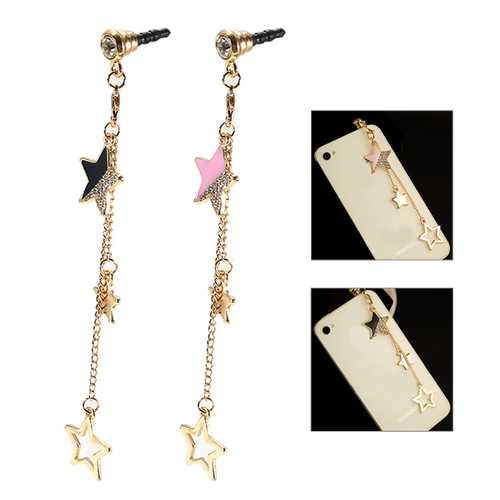 Universal 3.5mm Stars Decoration Dirtproof Plug for Samsung Xiaomi HUAWEI Non-original