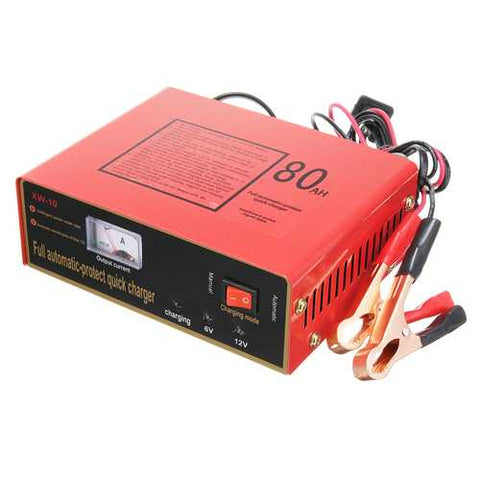 220V 6V/12V 80AH Car Motorcycle Intelligent Battery Charger Full Automatic Negetive Pulse