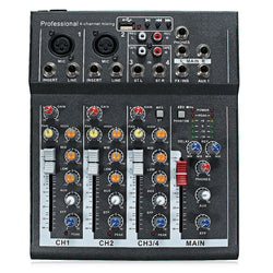 48V Professional 4-Channel Live Studio Audio Sound USB Mixer Mixing Console