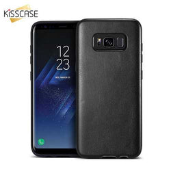 KISSCASE Hybrid Soft TPU + PU Leather Ultra Thin Cover Case for Samsung Galaxy S8 Plus