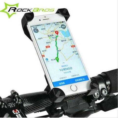 RockBros 360 Degree Rotation Adjustable Bicycle Handlebar Clip Holder for 3.5-7 inch Phone GPS