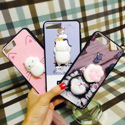 Bakeey™ Cartoon 3D Squishy Squeeze Slow Rising Soft Lazy Cat Claws PC Case for iPhone 7/8 7Plus/8Plu