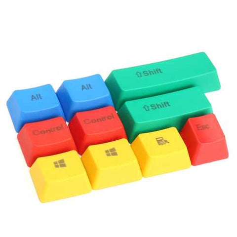 10Pcs RGBY ANSI PBT Thick Keycap Key Caps for Mechanical Gaming Keyboard