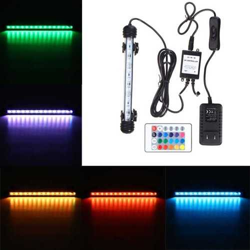 18CM RGB Remote Waterproof ip68 Aquarium LED Fish Tank Light Bar Submersible Lamp