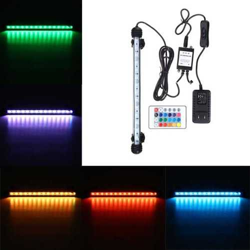 28CM RGB Remote Waterproof ip68 Aquarium LED Fish Tank Light Bar Submersible Lamp
