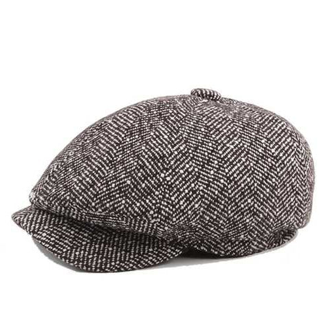 Mens Unisex Vintage Cotton Octagonal Cap Winter Stripe Gentleman Newsboy Beret Hat