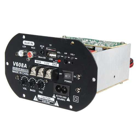 V608A 80W High Power Bass Car Hi-Fi Subwoofer Amplifier Board Module TF USB 110V-220V