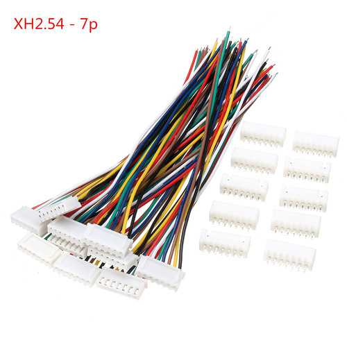 Excellway? 10 Sets Mini Micro JST XH2.54mm 7 Pin Connector Plug Socket Wire Cable 150mm