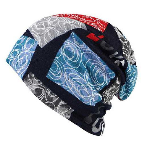 LOVE Printed Beanie Hat For Women Multi-function Autumn Warm Bonnet Hat and Collar Scarf