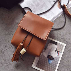 Mini PU Leather Hasp Vertical Tassel Shoulder Bag Phone Wallet for iPhone Xiaomi Samsung