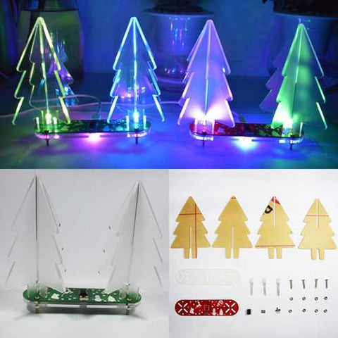 Geekcreit DIY Full Color Changing LED Acrylic 3D Christmas Tree Electronic Learning Kit