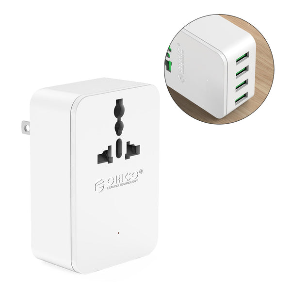 ORICO S4U 20W Universal Power Plug Travel Converting Adapter with 4 USB Charging Ports