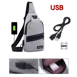 Men USB Port Casual Canvas Sport Outdoor Chest Bag Crossbody Bag with USB Cable