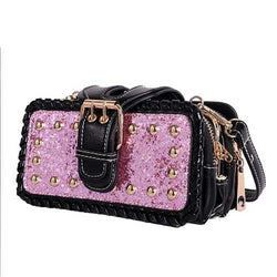 Women Retro Bling PU Leather Bag Rivet Rectangular Wallet Phone Bag for Xiaomi iPhone Samsung
