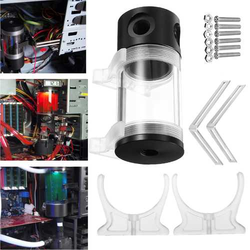 G1/4 T 50mm x 110mm Reservoir Helix Suspension Water Liquid Cooling Tank