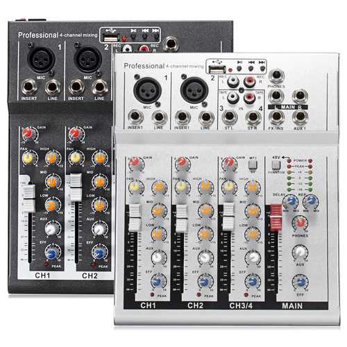 4 Channel Professional Live Mixing Studio Audio Sound USB KTV Karaoke Mixer Console