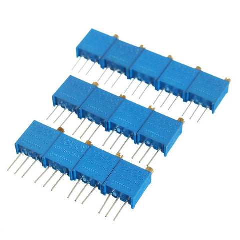 100R-1M 130pcs 13 Values 3296 Potentiometer Pack Adjustable Resistance Component Pack 10pcs Each Value