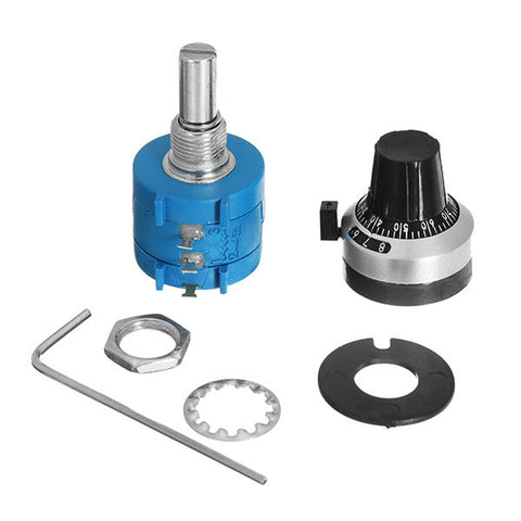 3590S-2-103L 10K Ohm 2W Multi Turn Wirewound Potentiometer With 10 Turns Counting Dial Rotary Knob Set
