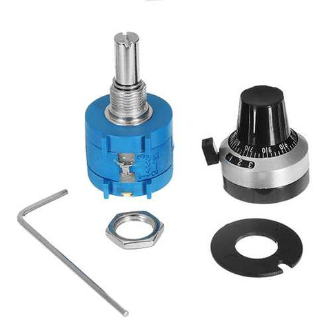 3590S-2-502L 5K Ohm 2W Multi Turn Potentiometer With 10 Turns Counting Dial Rotary Knob Set