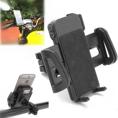 Universal Motorcycle MTB Bike Handlebar Water-proof USB Charging Mount Phone Holder for Cell Phone