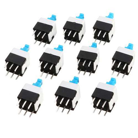 500pcs 8 x 8mm 6 Pin Touch Self-Locking On / Off Switch Push Button Switch Latching Switch
