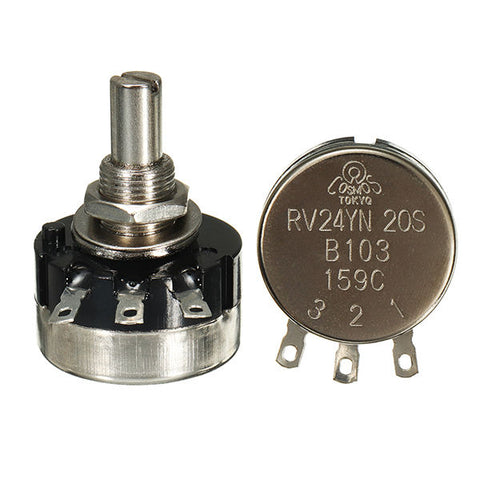 10pcs RV24YN20S B103 10K Single Ring Carbon Film Potentiometer 2W 20000rpm