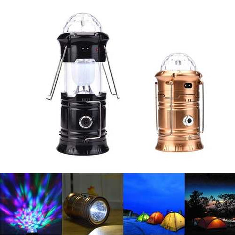 6W 3 in 1 RGB LED Crystal Magic Ball Stage Light Portable Rechargeable Camping Lantern Outdoor