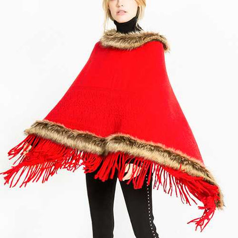 Women Tassel Solid Fur Poncho With Hood Warm Scarves